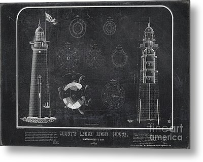 Metal Print featuring the drawing Minot's Ledge Light House. Massachusetts Bay Near Cohasset  by Vintage