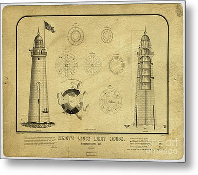 Metal Print featuring the drawing Minot's Ledge Light House. Massachusetts Bay by Vintage