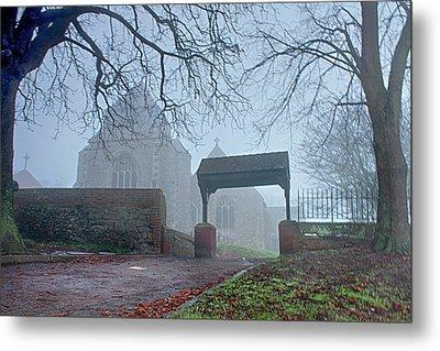 Minster Abbey Fog Bound Metal Print by Dave Godden