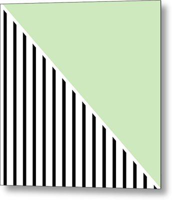 Mint And Black Geometric Metal Print by Linda Woods