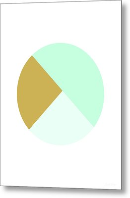Mint And Gold Ball- By Linda Woods Metal Print