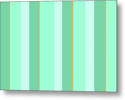 Metal Print featuring the mixed media Mint Green Stripe Pattern by Christina Rollo