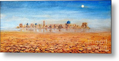 Metal Print featuring the painting Mirage City by Arturas Slapsys