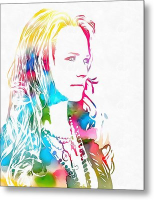 Miranda Lambert Watercolor Metal Print by Dan Sproul