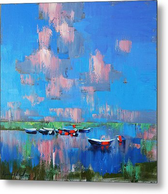 Metal Print featuring the painting Mirror Of Water by Anastasija Kraineva