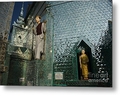 Mirror Temple In Burma Courtyard View Metal Print by Jason Rosette