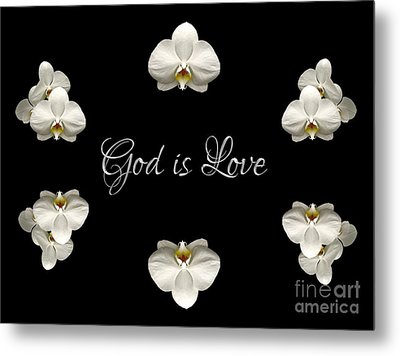 Metal Print featuring the photograph Mirrored Orchids Framing God Is Love by Rose Santuci-Sofranko