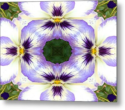 Mirrored Pansies - Horizontal Metal Print