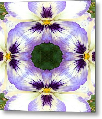 Mirrored Pansies - Square Metal Print