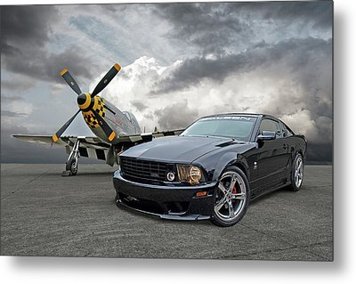 Mission Accomplished - P51 With Saleen Mustang Metal Print