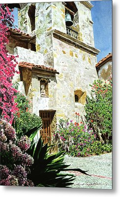 Mission Carmel Bell Tower Metal Print by David Lloyd Glover