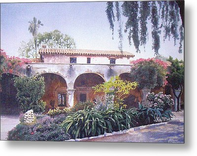 Mission Courtyard Metal Print