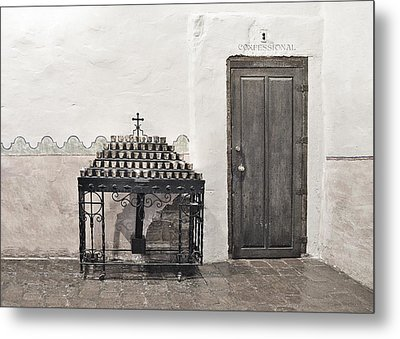 Metal Print featuring the photograph Mission San Diego - Confessional Door by Christine Till