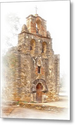 Metal Print featuring the photograph Mission San Francisco De La Espada In Faux Pencil Drawing  by David and Carol Kelly