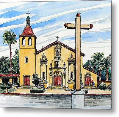 Metal Print featuring the painting Mission Santa Clara De Asis by Terry Banderas
