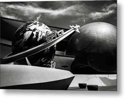 Metal Print featuring the photograph Mission Space Black And White by Eduard Moldoveanu