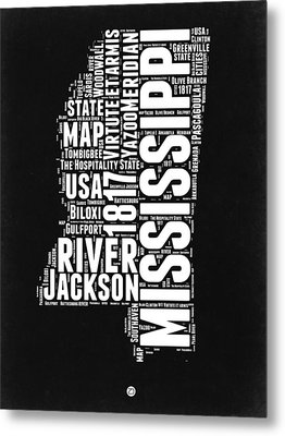 Mississippi Black And White Map Metal Print by Naxart Studio