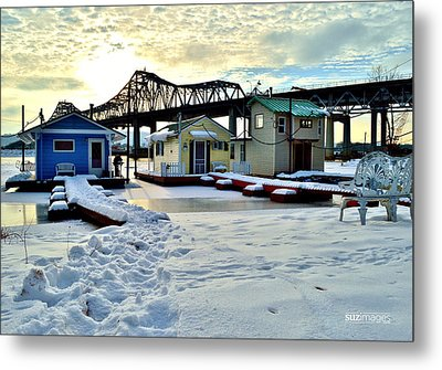 Mississippi River Boathouses Metal Print