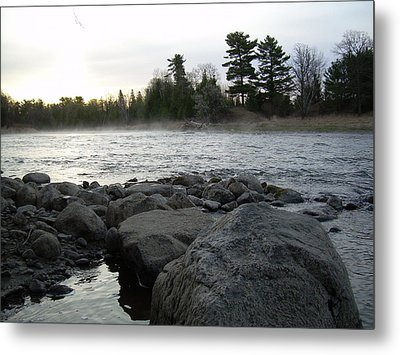 Metal Print featuring the photograph Mississippi River Dawn Over The Rocks by Kent Lorentzen