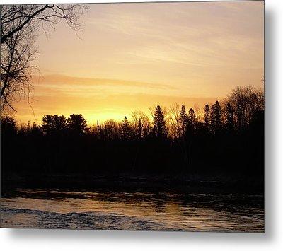 Metal Print featuring the photograph Mississippi River Orange Sky by Kent Lorentzen