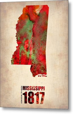 Mississippi Watercolor Map Metal Print by Naxart Studio