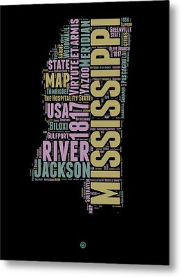 Mississippi Word Cloud 1 Metal Print