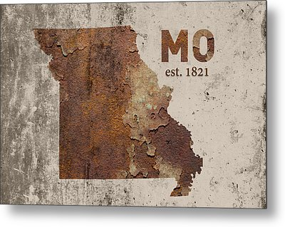 Missouri State Map Industrial Rusted Metal On Cement Wall With Founding Date Series 033 Metal Print