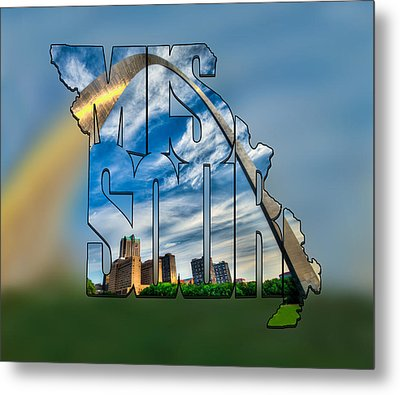 Missouri Typography Blur Artwork - The Saint Louis Arch And City Skyline Metal Print by Gregory Ballos