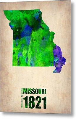 Missouri Watercolor Map Metal Print