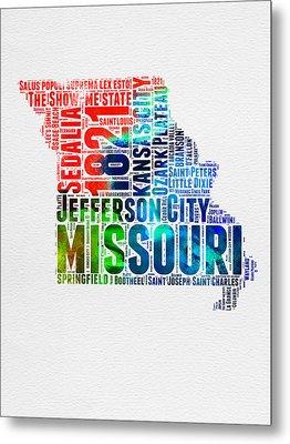 Missouri Watercolor Word Cloud Map  Metal Print