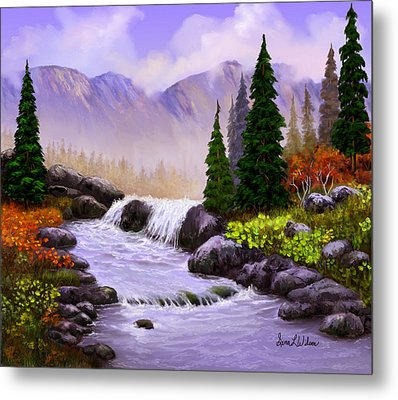 Metal Print featuring the painting Mist In The Mountains by Sena Wilson