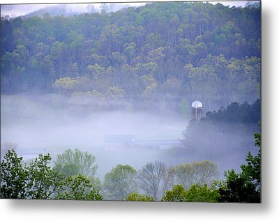 Mist In The Valley Metal Print
