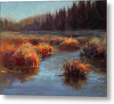 Misty Autumn Meadow With Creek And Grass - Landscape Painting From Alaska Metal Print by Karen Whitworth