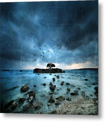 Metal Print featuring the photograph Misty Blue by Philippe Sainte-Laudy