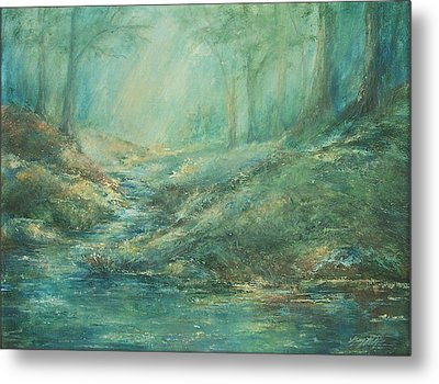The Misty Forest Stream Metal Print by Mary Wolf