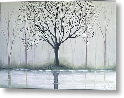 Misty Green River Metal Print by Peggy Davis