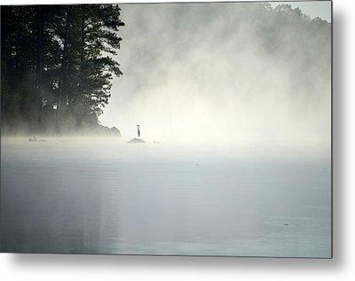 Misty Heron Metal Print