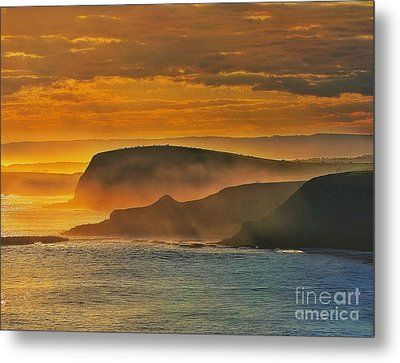 Misty Island Sunset Metal Print