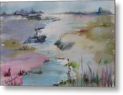Misty Marsh Metal Print by Dorothy Herron