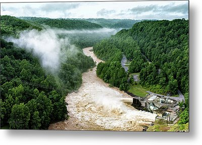 Misty Morning At Summersville Lake Dam Metal Print by Mark Allen