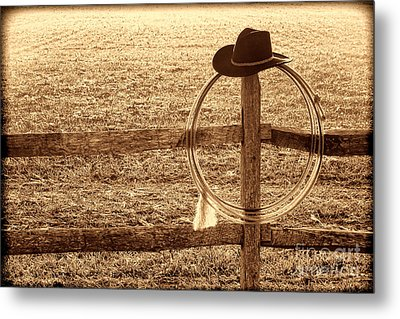 Misty Morning At The Ranch Metal Print