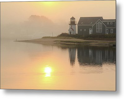 Metal Print featuring the photograph Misty Morning Hyannis Harbor Lighthouse by Roupen  Baker