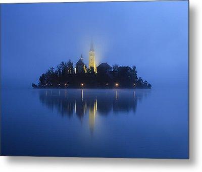 Misty Morning Lake Bled Slovenia Metal Print