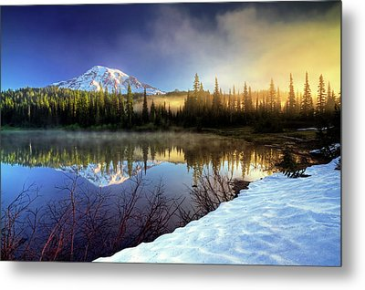 Misty Morning Lake Metal Print by William Lee