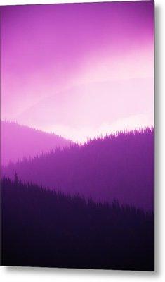 Misty Morning Mountains - Magenta Metal Print by Paul W Sharpe Aka Wizard of Wonders