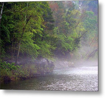 Misty Morning On The Buffalo Metal Print by Marty Koch