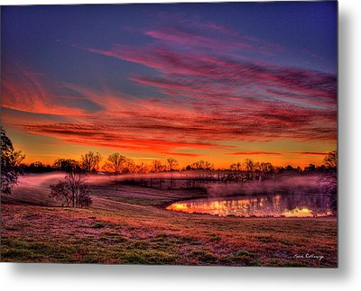 Misty Morning Other Worldly Sunrise Metal Print by Reid Callaway