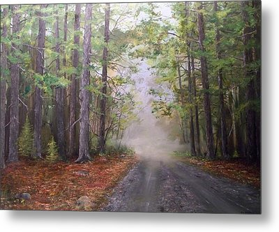 Metal Print featuring the painting Misty Morning Road by Ken Ahlering