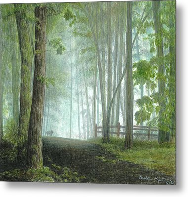 Misty Morning Visitor Metal Print by Carla Kurt