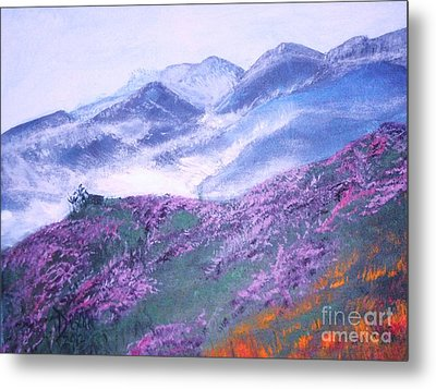 Metal Print featuring the painting Misty Mountain Hop by Donna Dixon